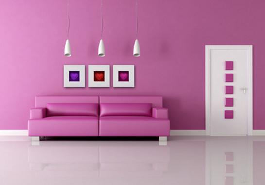 Romantická fialová obývačka