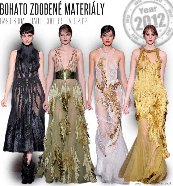 Basil Soda stavil vo svojej Haute Couture Fall 2012 kolekcii všetko na bohato zdobené materiály
