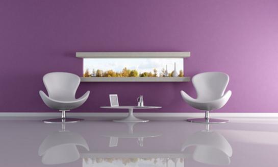Moderná fialová čakáreň