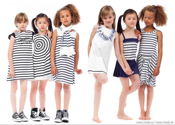 Dievčenské oblečenie z námorníckej série detskej kolekcie Junior Gaultier