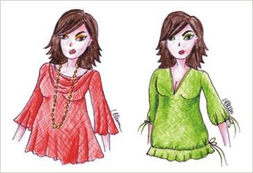 Skice žien vo farebných tunikách