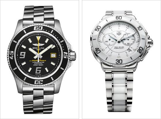 Vľavo luxusná klasika Breitlin vpravo TAG Heuer s diamantmi