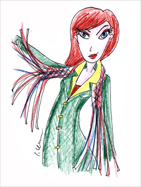 Skica ženy s rozstrapkaným šálom