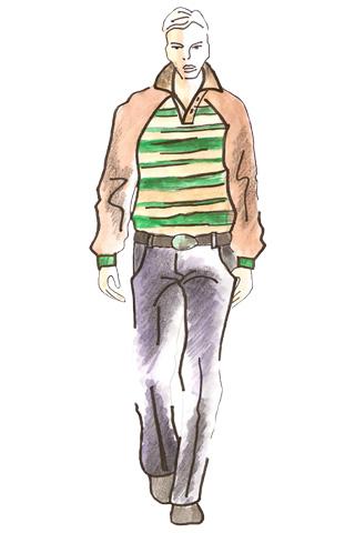 Skica muža v pruhovanom svetri