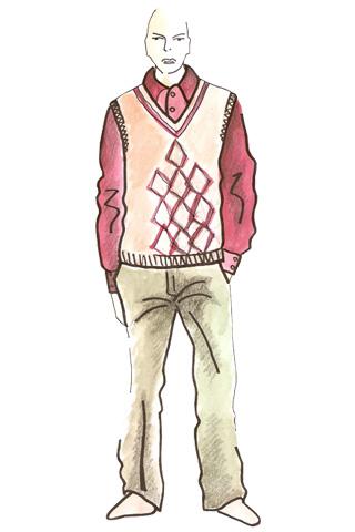 Skica muža v pletenej veste