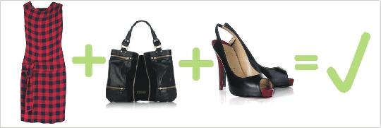 Správna kombinácia červeno-čiernych károvaných šiat, čiernej kabelky a lodičiek