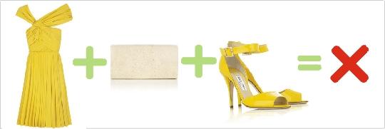 Nesprávna kombinácia žltých šiat, topánok a béžovej kabelky