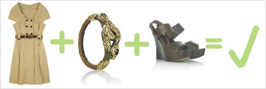Správna kombinácia hnedých šiat, nýramku a sandálov