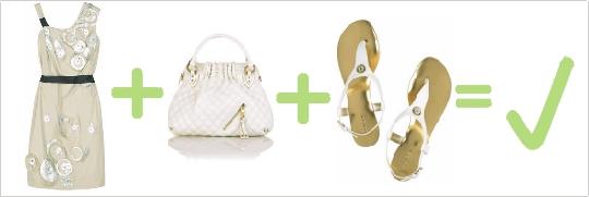 Správna kombinácia krémových šiat, bielych sandálov