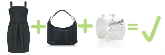 Správna kombinácia čiernych šiat, kabelky a strieborného náramku