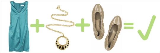 Správna kombinácia zelených lesklých šiat, zlatého náhrdelníka a telových balerínok