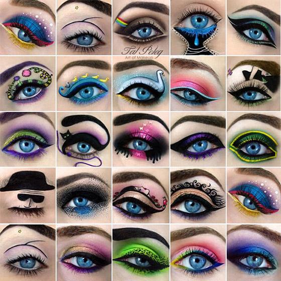 Vyberte si niektorý z námetov art dizajnérky Tal Peleg a skúste si podobnú kreáciu makeupu vykúzliť na očiach aj samy