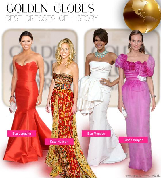 Diane Kruger vo fascinujúcich ružových šatách Christian Lacroix v roku 2010 Eva Mendes v šatách Christian Dior v roku 2009 Kate Hudson v gipsy outfite z roku 2003 a Eva Longoria v úžasných červených šatách Reem Acra v roku 2009