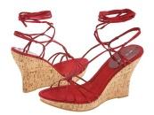 Červené šnurovacie sandále na platforme