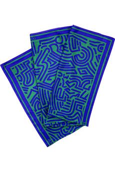 Modrozelená šatka so vzorom labyrintu