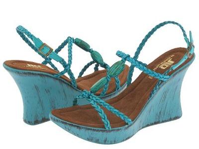 Dámske sandále na platforme v tyrkysovej farbe