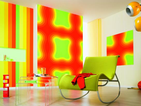 Ukážka zariadenej miestnosti v neónových farbách