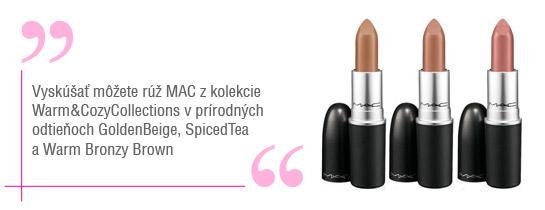 Nude odtiene rúžov Mac