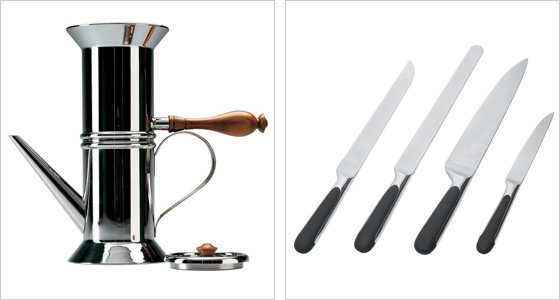 Nerezový kávovar a sada nožov značky Alessi