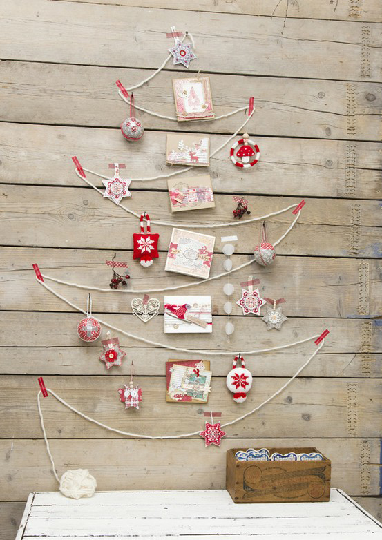 Jednoduchý vianočný stromček vyrobený z lana