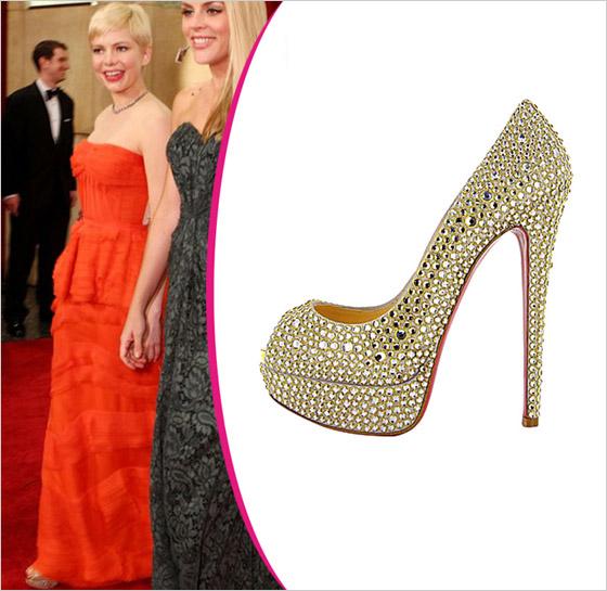 Michelle Williams v topánkach Christian Louboutin Oscar 2012
