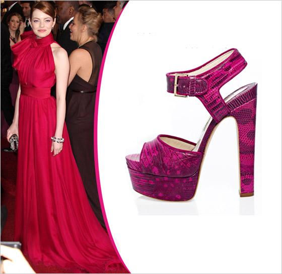 Emma Stone v topánkach Brian Atwood Oscar 2012