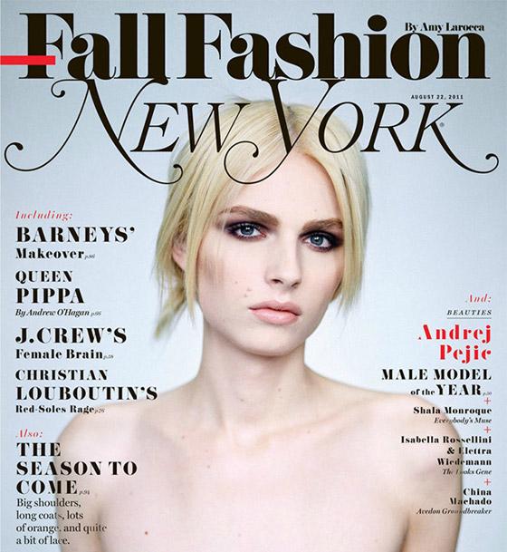 Andrej Pejic na obálke FallFashion magazínu