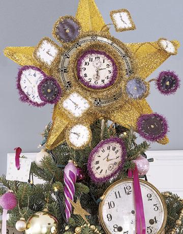 Vianočný stromček ozdobený hodinami