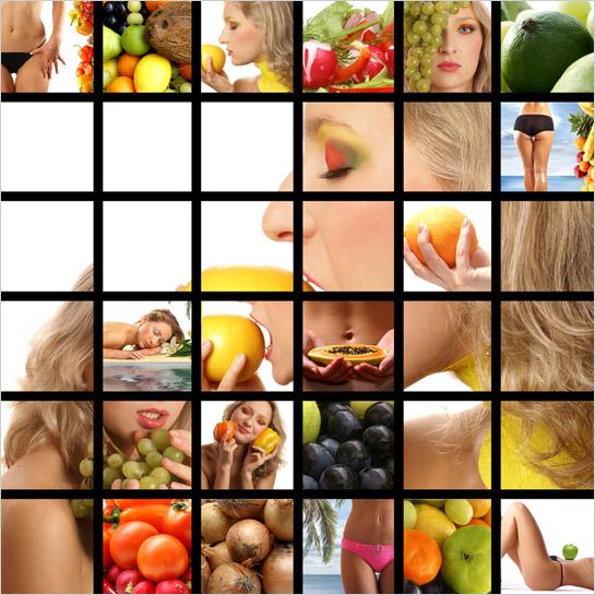 Fotokoláž ženy s ovocím