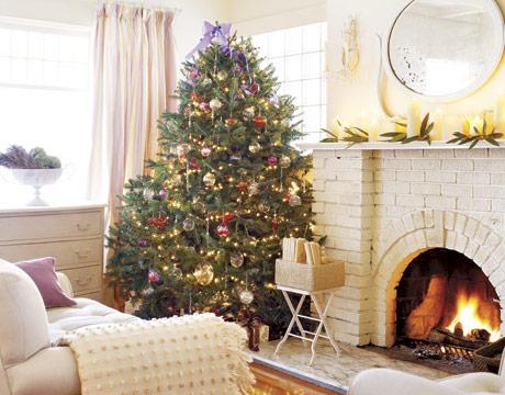 Hustý vianočný stromček s krbom