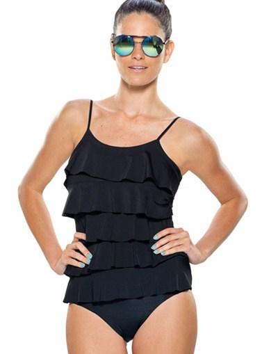Čierne jednodielne plavky s volánikmi