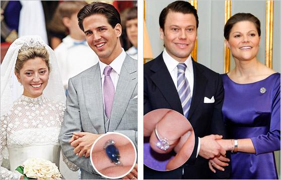 Vľavo Princ Pavlos a Márie Chantal Na obrázku vidíte zásnubný prsteň ale aj jednu zaujímavosť Marie Chantal sa vydávala nenalíčená Vpravo Princezná Victorie a Daniel Westling