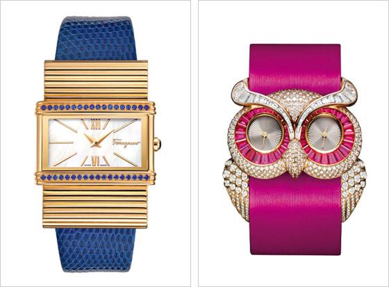 2ffb70877 Vľavo luxusné hodinky Salvatore Ferragamo vpravo hodinky se sovím motívom  Chopard
