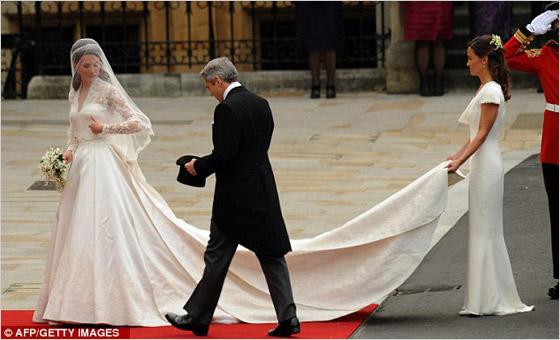 Vlečka na svadobných šatách Kate Middleton
