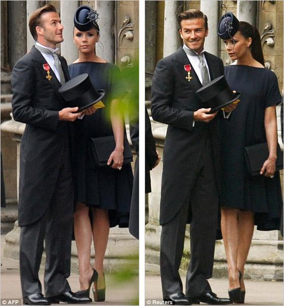 Victoria Beckham a David Backham na svadbe Kate a Williama