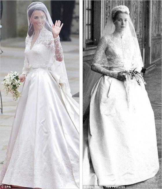 Porovnanie svadobných šiat Kate Middleton a monackej kňažnej Grace Kelly