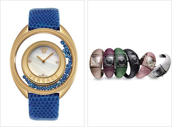 0f04a6ae3 Vľavo náramkové hodinky Versace vpravo farebné variácie hodiniek de  Grisogono