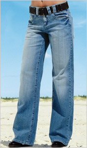 Dámske džínsy so zníženým pásom