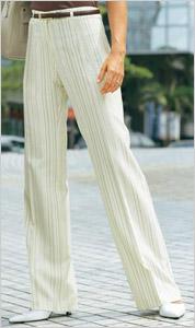 Biele dámske nohavice s prúžkami