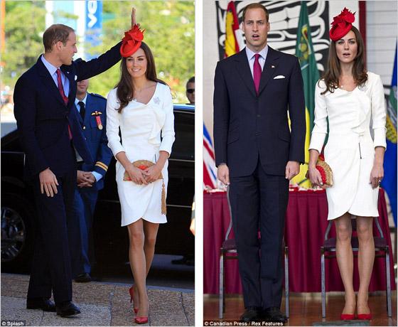 Catherine v Kanade zabodovala aj v bielych šatách Reiss v ktorých ju už skôr celý svet videl na zásnubných fotografiách K nim si do ruky vzala listovú kabelku Anny Hirdmarch