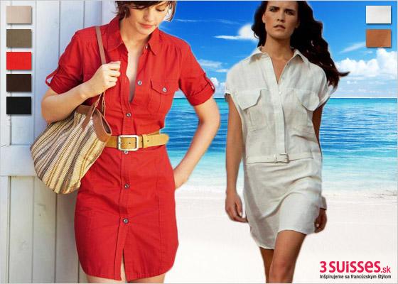 Červené a biele letné šaty s opaskom