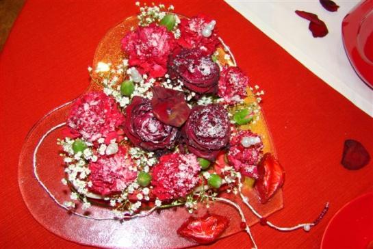 Valentínska ozdoba na stôl