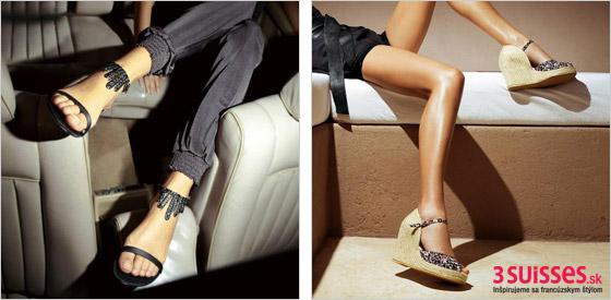 Čierne sandále s korálkami a béžové sandále na platforme
