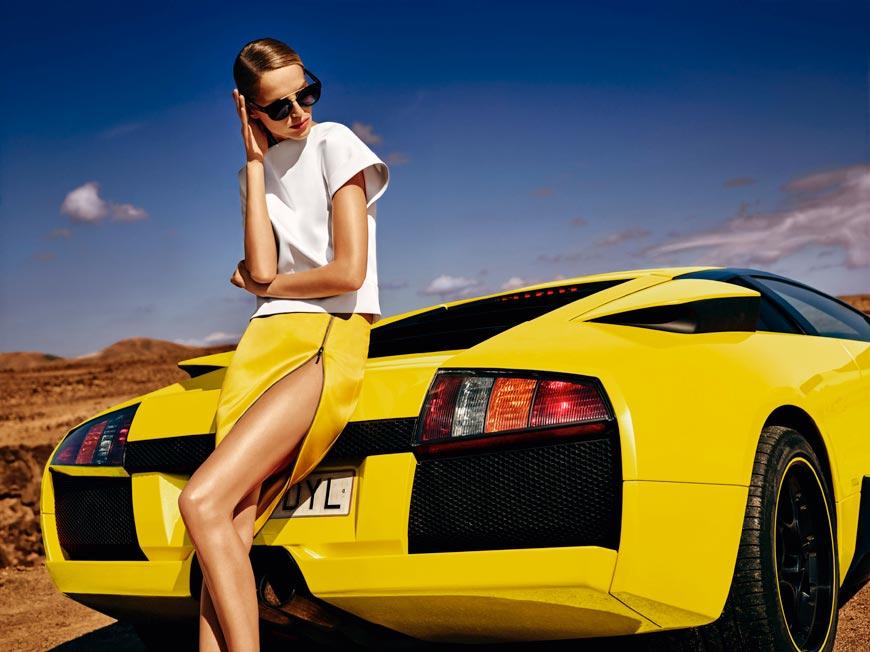 Žltá sukňa s bielym topom MOHITO