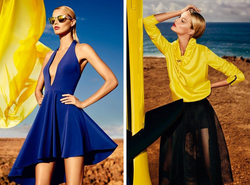 Modré minišaty a žltý top s čiernou sukňou z kolekcie Mohito 2015