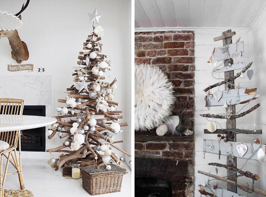 Vianočné stromčeky vyrobené z konárov