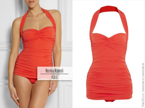 c8e654fa84c9 Jednodielne plavky s drapériou z kolekcie Norma Kamali