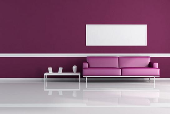 Inšpirácia pre fialovú obývačku