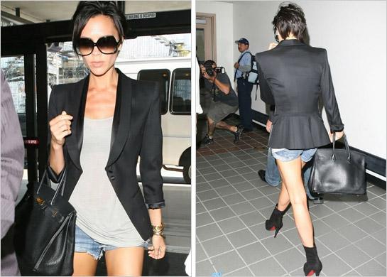 Victoria Beckham v džínsových kraťasoch