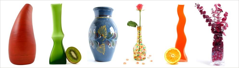 Ukážky váz rôznych farieb a tvarov